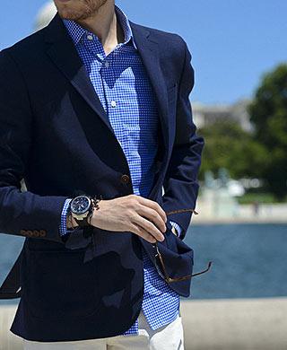 青腕時計コーデ2