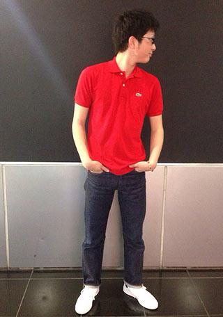 ラコステ赤ポロシャツ1