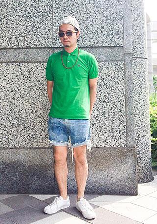 ラコステポロシャツ緑1