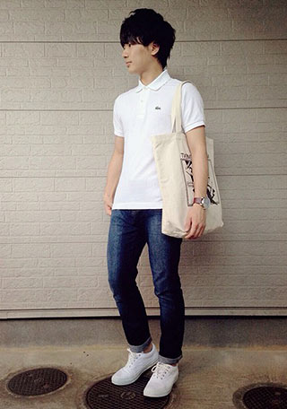 ラコステポロシャツ白