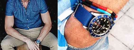 休日コーデを夏らしく加速させる!青のブランド腕時計