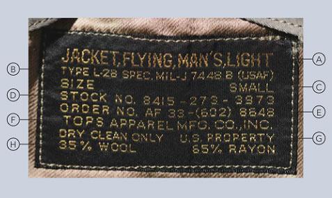フライトジャケット ラベルの見方