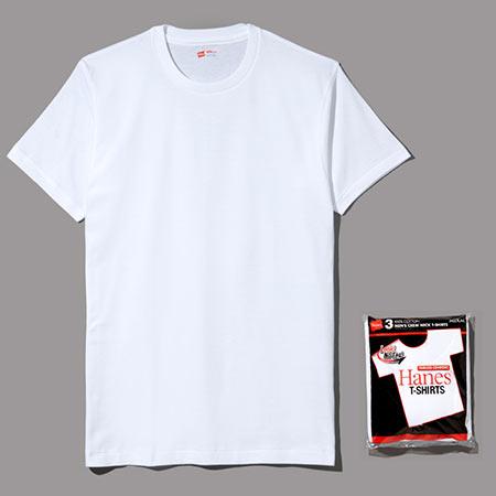 ヘインズ  3P アカラベル クルーネックTシャツ