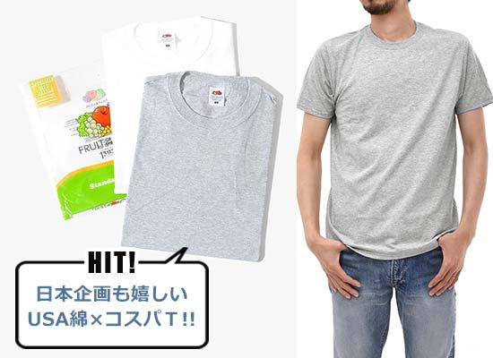 フルーツ・オブ・ザ・ルーム USAコットン 2パックTシャツ